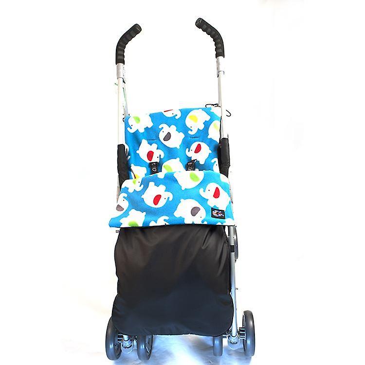 Genesis Universal Showerproof Blue Elephants Footmuff Fleece Lined Windproof  Cosytoes Buggy Liner