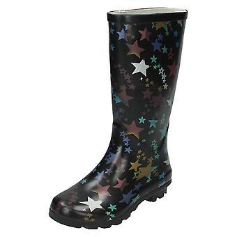Girls Spot On Star Print Wellington Boot