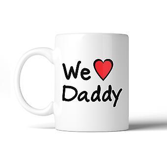 Noi amiamo papà Design carino bianco tazza in ceramica regali di compleanno per papà