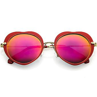 Women's Unique Heart Sunglasses Thin Metal Arms Round Color Mirrored Lens 54mm