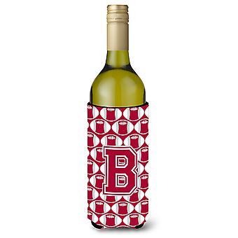 Brief B voetbal Crimson, grijze en witte wijn fles drank isolator Hugger