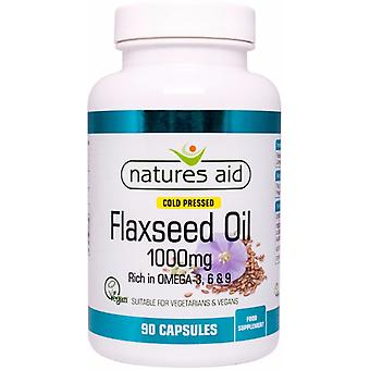 Natures Aid Flaxseed Oil 1000mg Cold Pressed (Omega 3, 6 + 9), 90 caps. Suitable for Vegetarians.