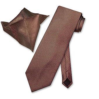 Antonio Ricci NeckTie Handkerchief w Ribbed Lines Neck Tie Set