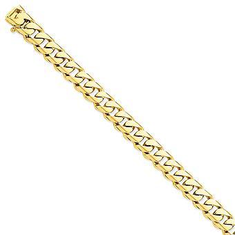 14k Geel goud 11mm Hand gepolijst afgeronde stoeprand kettingarmband sieraden geschenken voor vrouwen - Lengte: 8 tot 9