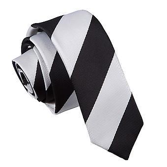 Black & White Striped Skinny Tie