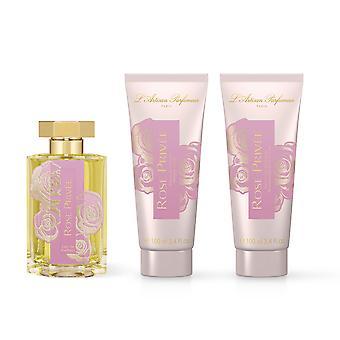 L'Artisan Parfumeur Rose Privee 3Pc GiftSet 3.4Oz EDP, ShowerCream & Body Lotion