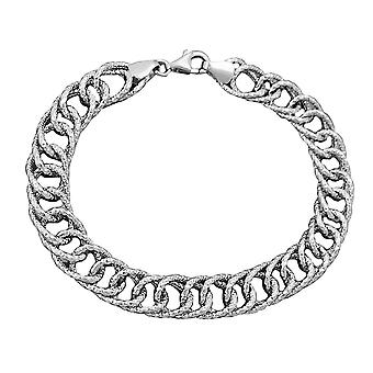 Rhodium plaqué argent 925 bracelet 9, fantaisie 4mm 19cm