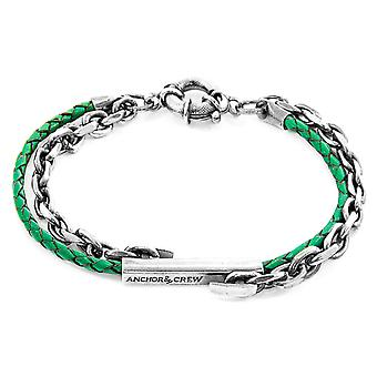 Anchor & Crew Fern Green Belfast Silver and Braided Leather Bracelet