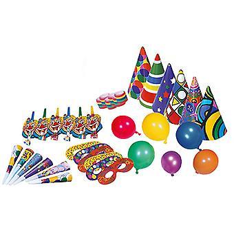 Party Set 36 tlg je 6 Hütchen Ballons Masken Clowntröten Tröten Luftschlangenrollen