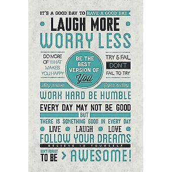 Laugh More Worry Less Poster Motivation f3r every day - English version 91.5 x 61 cm