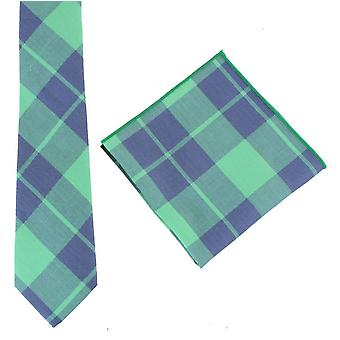 Knightsbridge Neckwear Check Tie and Pocket Square set - Green/Navy