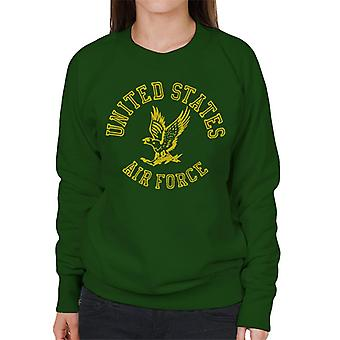US Airforce Eagle Yellow Text Women's Sweatshirt