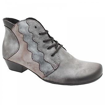 Rieker Lace Up Low Block Heel Grey Ankle Boots
