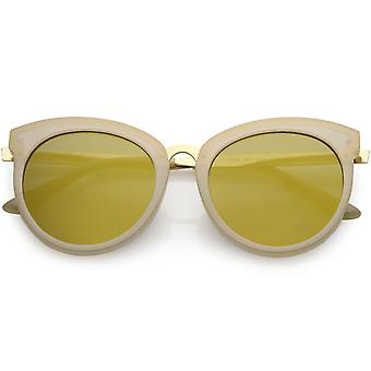 Women's Oversize Horn Rimmed Cat Eye Sunglasses Round Mirrored Lens 54mm