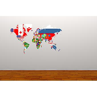 Full Colour World Map Flags Wall Sticker
