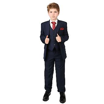 Boys Regular Italian Fit Navy Blue Wedding 5 Piece Suit - Red Tie