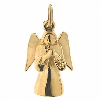 9ct золота 17x12mm твердых Кулон Ангел-хранитель или очарование