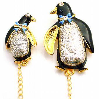 Baby doccia spilla pinguino madre & bambino decorato fiocco & Glitter corpo