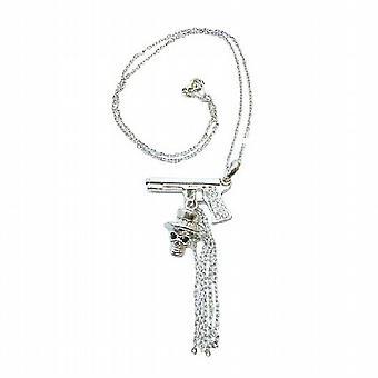 Skull Pendant Hip Hop Jewelry w/ Gun Skull Tassel 18 Inches Chain