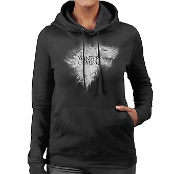冬が来ている魂の女性のフード付きスウェットシャツのためのダイアウルフ・印章スモークゲーム