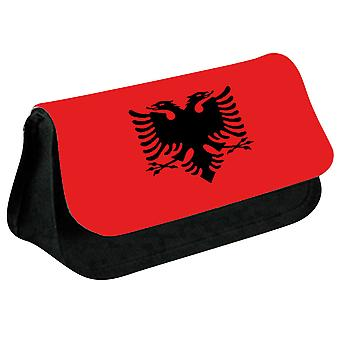 Albania Flag Printed Design Pencil Case for Stationary/Cosmetic - 0002 (Black) by i-Tronixs