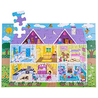 Bigjigs Toys Kinder Holzpuppen Haus Stock Jigsaw Puzzle (48 Stück)