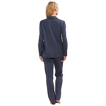 Féraud 3883160-16525 Women's Koyu Gri Ekose Pamuk Pijama Takımı