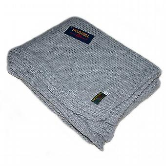 Grey Knitted Throw / Blanket by Tweedmill
