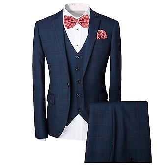 Allthemen miesten puku ruudullinen liike rento Slim Fit 3-kpl puku bleiseri housut liivi