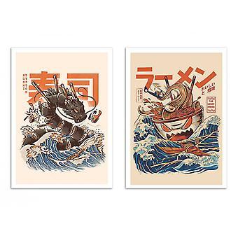 2 Pôsteres de Arte - Ramen e dragão sushi - Ilustrata