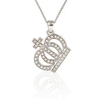 PENDANT WITH CHAIN CROWN 925 SILVER AND ZIRCONIUM