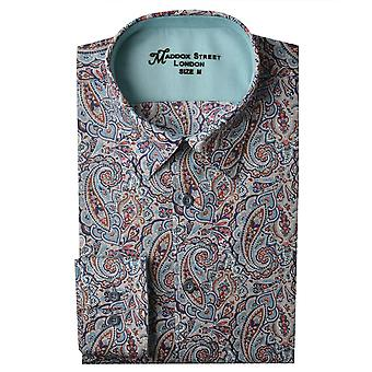 Maddox Street Navy Paisley Print Mens Shirt