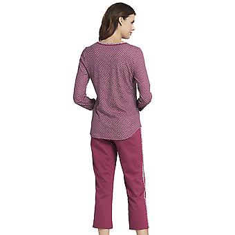 Rosch 1193518-16415 Women's Smart Casual Blush Pink Striped Mix Cotton Pyjama Set