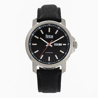 Reign Helios Automatic Leather-Band Watch w/Day/Date - Argent/Noir