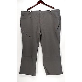 H de Halston Women's Petite Pants 28WP Studio Stretch 5 Pocket Gray A280415