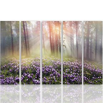 Five Part Picture On Canvas, Pentaptych, Type C, Clearing Crocuses