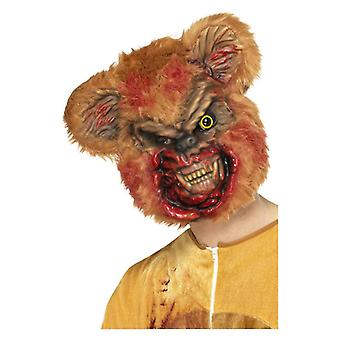 Mens Zombie Teddy Bear Mask with Fur Halloween Accessory