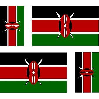 4 X sticker sticker sticker auto motorfiets valise PC draagbare vlag Kenia Keniaanse
