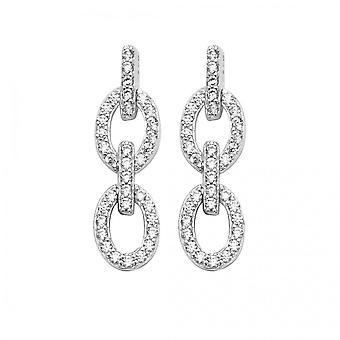 Eternity Sterling Silver Double Cubic Zirconia Link Drop Earrings