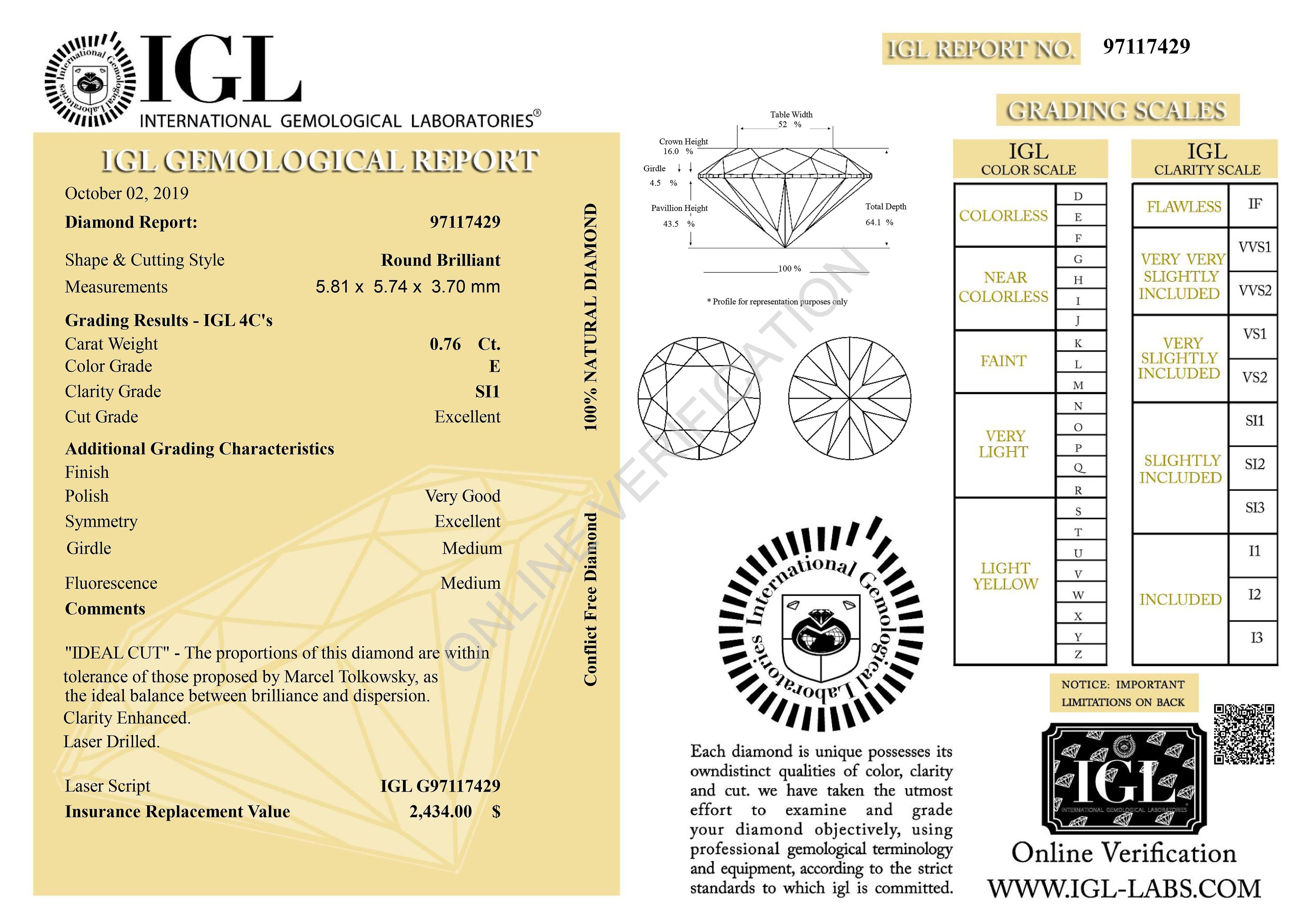 Certified 0.76 Carat E SI1 Round Brilliant Enhanced Natural Loose Diamond 5.81mm