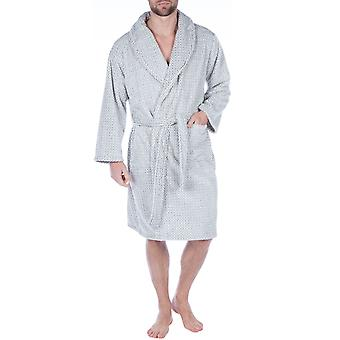 Harvey James Mens Super Soft Long Sleeve Shawl Collar Dressing Gown Robe - Grey