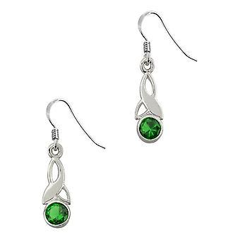 Celtic Holy Trinity knude Birthstone lille dråbe stil par øreringe-en smaragd sten