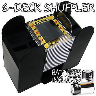 6 Deck Playing Card Shuffler con baterías