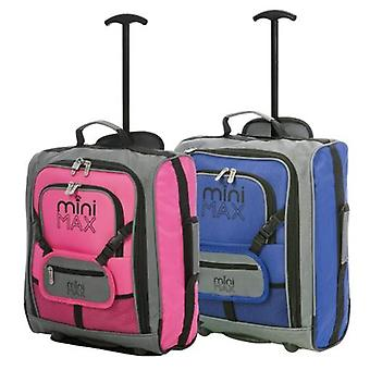 Minimax (45x35x20cm) childrens luggage carry on suitcase with backpack and pouch (blue + pink)