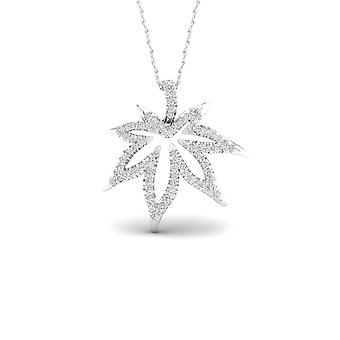 Igi certified s925 sterling silver 0.25ct tdw diamond maple leaf necklace