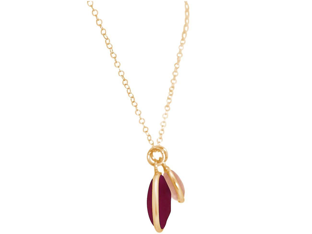 GEMSHINE Kette Rubin und Rosenquarz Edelsteine 925 Silber, vergoldet oder rose