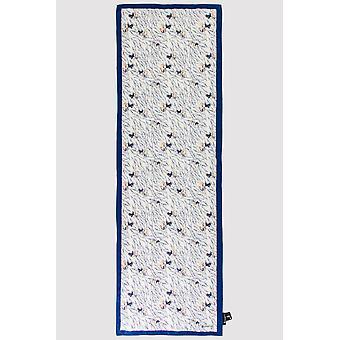 Premium crepe scarf i beige & blått tryck