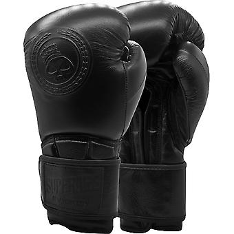 Superare One Series Hook and Loop Training Boxing Gloves - Black/Black