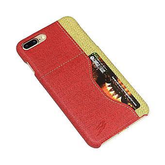 Für iPhone 8 PLUS, 7 PLUS Fall, elegante gewebte Muster langlebig Lederbezug, rot
