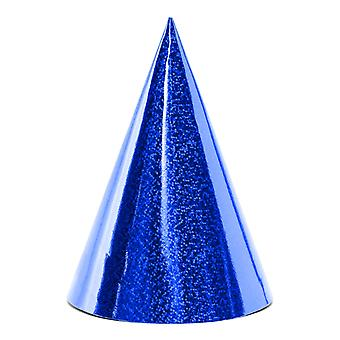 6 Holographic Blue Card Party Hats